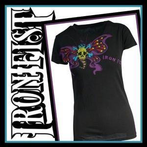 New! Iron Fist Butterfly Skull Tee Sz: Med